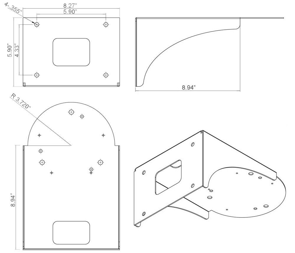 surface mount line drawing - Top Mount PTZ Camera Platform Square Poles