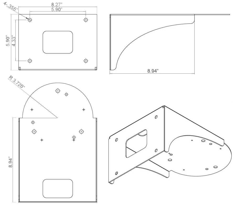 surface mount line drawing - Top Mount PTZ Camera Platform