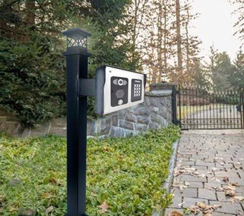 access control keypad and reader pedestal instalation